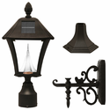Baytown Solar Lamp Fixture With Pole, Post & Wall Mount Kit - Black Finish