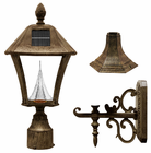 Baytown Solar Lamp Fixture With Pole, Post & Wall Mount Kit - Weathered Bronze