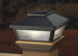 black solar post cap light decorative solar light for 4x4. Black Bedroom Furniture Sets. Home Design Ideas