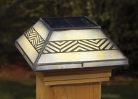 Chevron Filigreed Glass Post Cap Light for 4x4 Posts (Inside Dimensions measure 3-5/8� x 3-5/8�) - Cedar Skirt