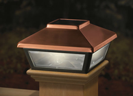 "Copper-Plated Solar Post Cap Light, Decorative Solar Light for 4x4 Posts (Inside Dimensions measure 3-5/8"" x 3-5/8"")"