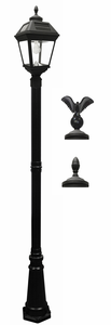 Imperial Solar Lamp Post with GS Solar Light Bulb with Eagle & Acorn Finials