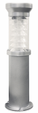 Silver Bollard Solar Lamp for Parking Lots, Paths, Walkways, Driveways and Fresh Water Marinas