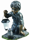 Solar Lantern Boy and Frog - Decorative Solar Light for Gardens, Lawns and Yards