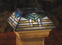 Tiffany Style Glass Solar Post Cap Light - Mission for 6x6 Posts