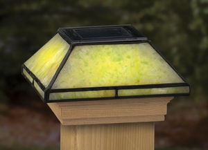 style glass solar post cap light serpentine jade for 4x4 posts. Black Bedroom Furniture Sets. Home Design Ideas