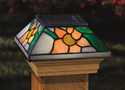 Tiffany Style Glass Solar Post Cap Light - Sunflower for 4x4 Posts