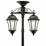 Victorian Solar Lamp Post With 2 Hanging 13 LED Light Heads