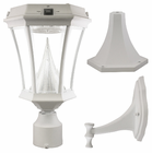 Victorian Solar Light With Pole, Post & Wall Mount - White Finish