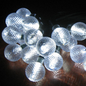White Crystal Ball Solar String Light 30 Energy Saving White LEDs