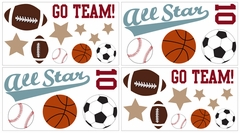 All Star Sports Wall Decals - Set of 4 Sheets by Sweet Jojo Designs