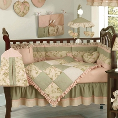 Annabel Flower Rose Shabby Chic Baby Bedding - 9 Piece Crib Set
