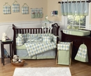 Argyle Green and Blue Baby Bedding - 9 Piece Crib Set