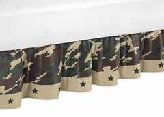 Army Green Camo Toddler Bed Skirt by Sweet Jojo Designs