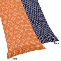 Arrow Orange and Navy  Body Pillow Cover