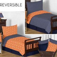 Arrow Orange and Navy Toddler Bedding Set