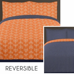 Arrow Orange and Navy Twin Bedding - 4 Pc Set