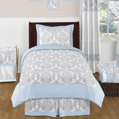 Avery Blue and Gray Damask Bedding 4 Pc Twin Set
