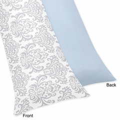 Avery Blue and Gray Damask Body Pillow Cover