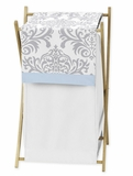 Avery Blue and Gray Damask Hamper