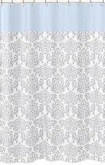 Avery Blue and Gray Damask Shower Curtain