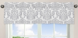 Avery Blue Collection Gray & White Damask Window Valance