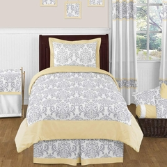 Avery Yellow and Gray Damask Bedding 4 Pc Twin Set