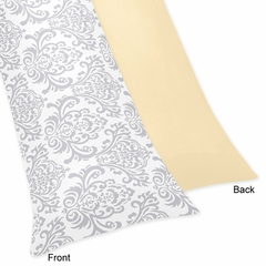 Avery Yellow and Gray Damask Body Pillow Cover