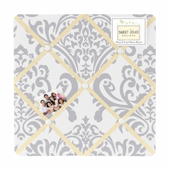 Avery Yellow and Gray Damask Fabric Memo Board