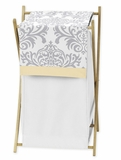 Avery Yellow and Gray Damask Hamper