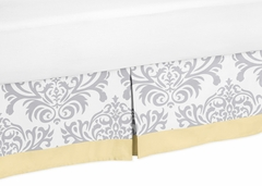 Avery Yellow and Gray Damask Queen Bed Skirt