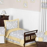 Avery Yellow and Gray Damask Toddler Bedding Set