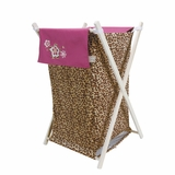 Berry Leopard Print Clothes Hamper by Trend Lab