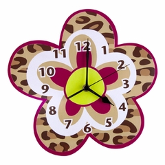 Berry Leopard Print Kids Wall Clock