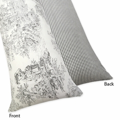 Black French Toile and Gingham Body Pillow Cover
