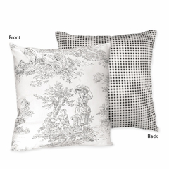 Black French Toile Decorative Accent Throw Pillow