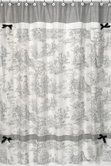 Black Toile and Gingham Bathroom Shower Curtain