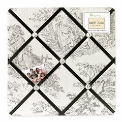Black Toile Fabric Memo Board