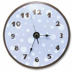 Blue and Brown Polka Dot Wall Clock
