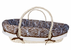 Blue and Brown Zebra Print Moses Basket Set