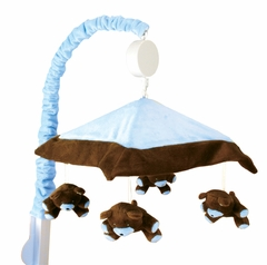 Blue and Chocolate Brown Crib Mobile