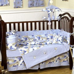 Blue Camo Baby Bedding - 9 Piece Crib Set