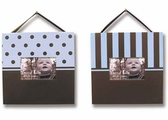 Blue & Chocolate 2 Piece Baby Picture Frame Set