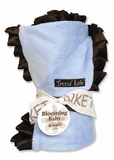Blue Velour with Brown Satin Ruffle Trim Receiving Blanket