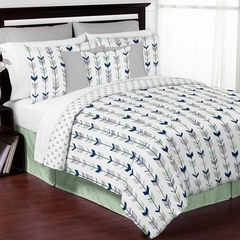 Boho Arrow Navy and Mint Queen 3 Pc Bedding Set