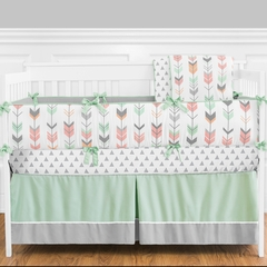 Tribal Girls Arrow Coral and Mint Crib Bedding - 9 Pc Nursery Set