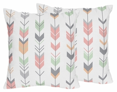 Boho Girls Arrow Coral and Mint Throw Pillows