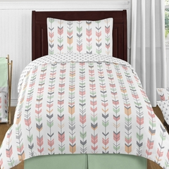 Boho Girls Arrow Coral and Mint Twin 4 Pc Bedding Set