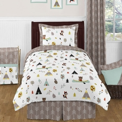 Boy's Teepee Outdoor Adventure Twin Bedding - 4 Pc Set