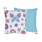 Butterfly Purple and Turquoise Decorative Accent Throw Pillow